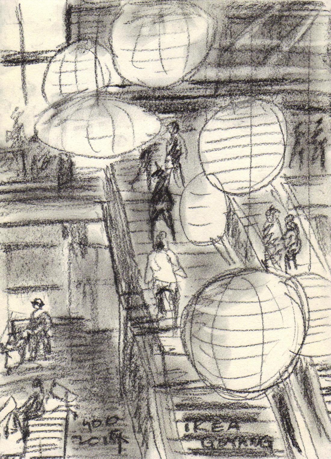 Sketches At A Big Mall Ikea Goyang Urban Sketchers
