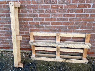 Pallet cut into two pieces to make planters