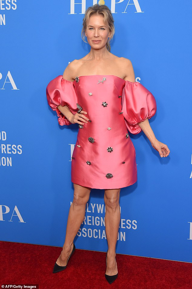 Renee Zellweger is chic in pink at the Hollywood Foreign Press Association Grants Banquet