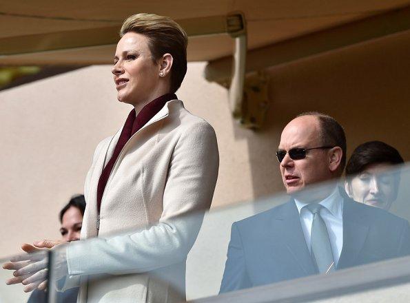 Princess Charlene, Princess Gabriela and Prince Albert II of Monaco attend the 7th Sainte Devote Rugby Tournament at the Louis II Stadium