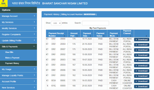 Download BSNL bill payment receipt online for Landline, Broadband and Bharat Fiber (FTTH) customers
