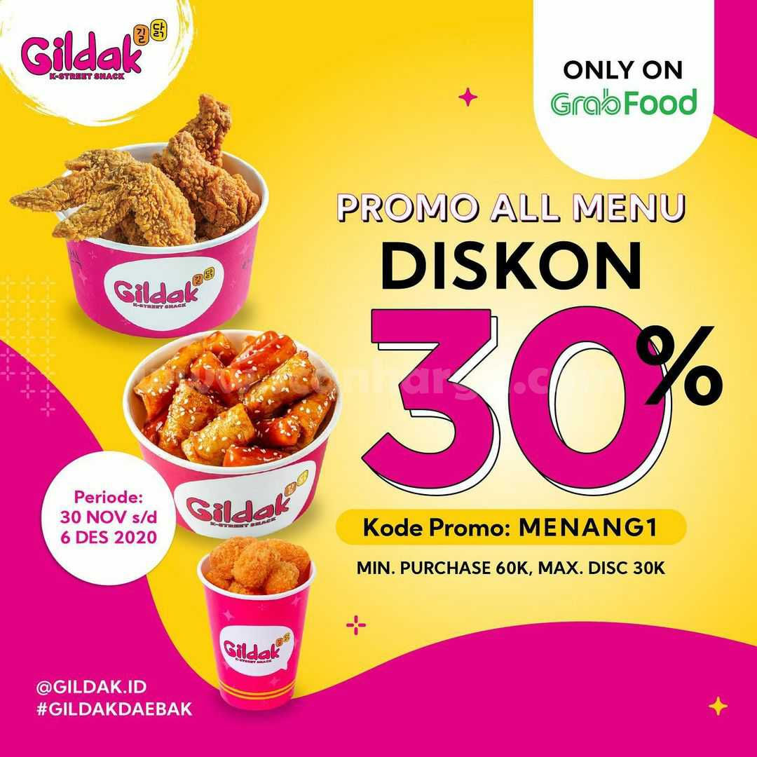 Gildak Grabfood Promo All Menu Diskon 30%