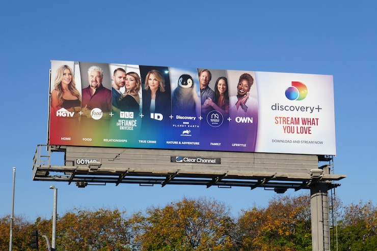 Discovery+ streaming service launch billboard