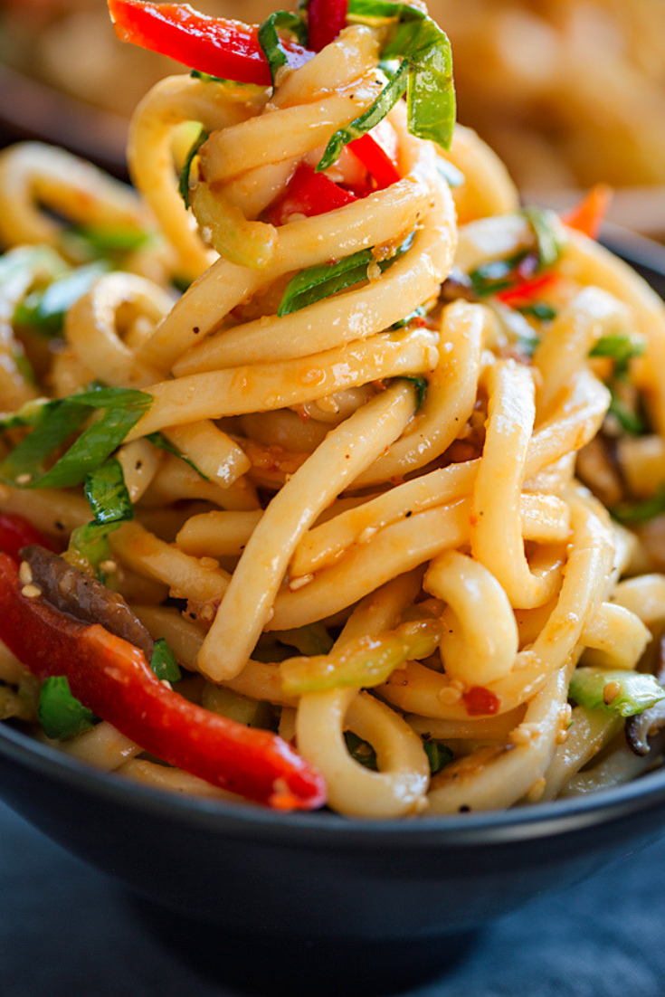 Chilled Garlic Sesame Udon Noodles Recipe with Vegetables