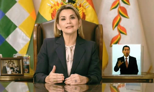 Presidenta Áñez denuncia que la convocatoria del MAS a elecciones es un atentado gravísimo contra la salud y la vida de los bolivianos