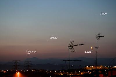 Lluna, Saturn, Júpiter i Mercuri - 10/03/2021