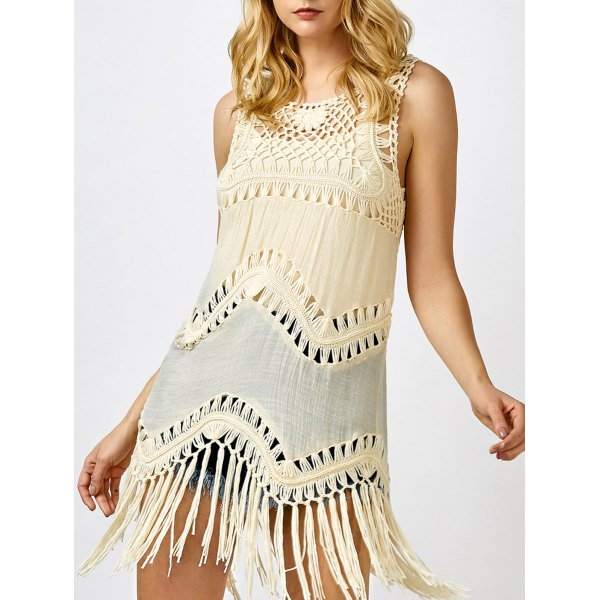 Tassel Sleeveless Crochet T-Shirt
