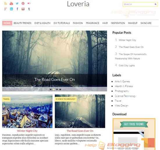 Loveria Clean, Simple, Responsive design For Magazine, Photography Slideshow White color Minimalist Seo Ready Right Sidebar Gallery style Gird view 2 Columns layout 3 Columns Footer Blogger Template Free Download