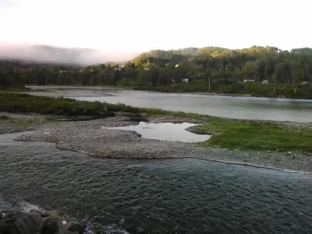 Shallow head of the Restigouche River from Via Rail passenger train