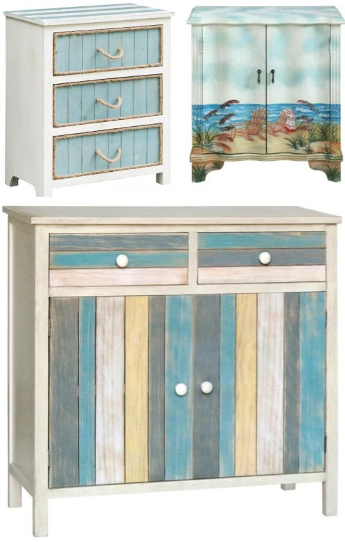 Coastal Beach Accent Cabinets Chests Blue White Rustic Distressed