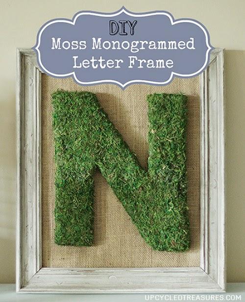 DIY Moss monogrammed letter framed.