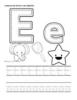 Trazos del abecedario letra E