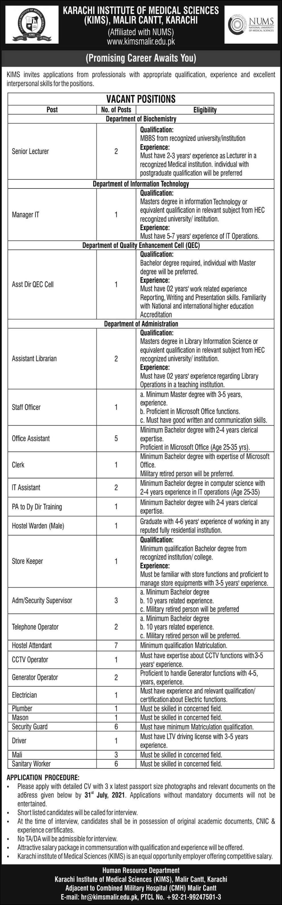 Karachi Institute Of Medical Sciences (KIMS) Jobs 2021 in Pakistan - www.kimsmalir.edu.pk Jobs 2021