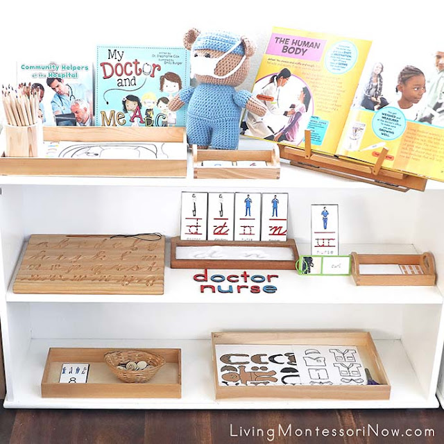 Montessori Shelves with Medical Worker Themed Activities