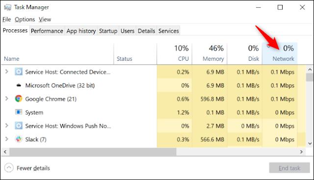 يتم فرز العمليات حسب استخدام الشبكة في إدارة المهام في Windows 10