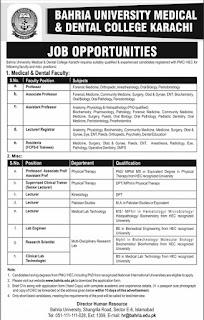 Bahria University Medical and Dental College Karachi Jobs 2020 Advertisement