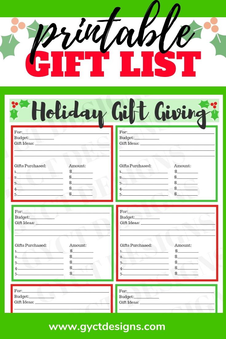 Printable Christmas Gift List - GYCT Designs