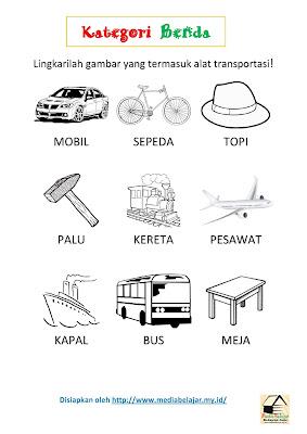 Kategori Benda: Melingkari Gambar Alat Transportasi