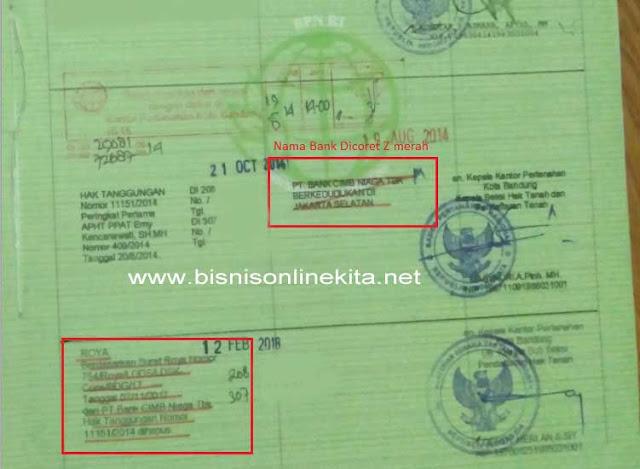 contoh sertifikat tanah yang sudah di roya