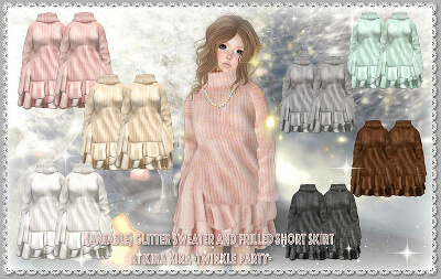 {amiale}Glitter Sweater and Frilled Short Skirt