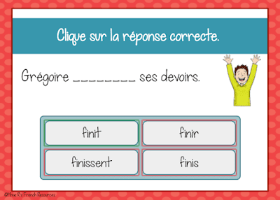 Digital French -ir and -re task cards from Boom Learning
