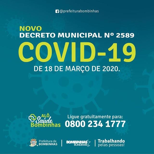 Prefeitura de Bombinhas publica novo decreto sobre COVID-19