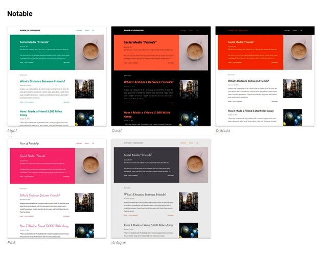 Notable Template Style: Light, Coral, Dracula, Pink, dan Antique