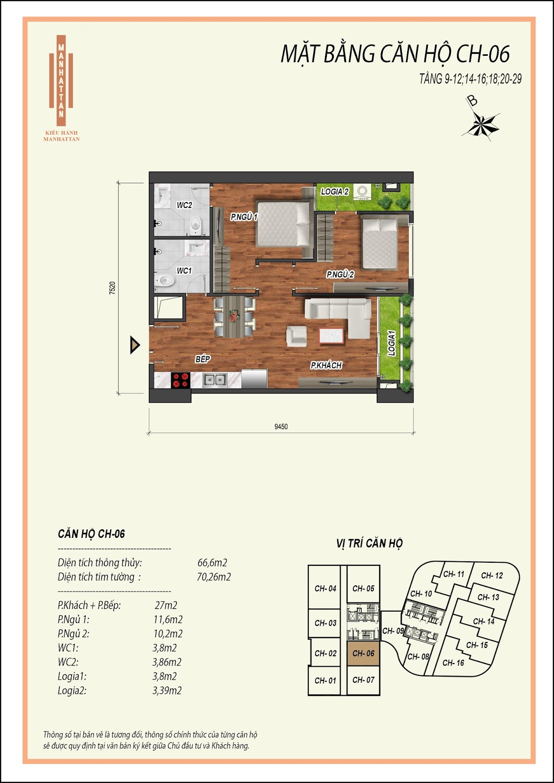 Thiết kế căn hộ 06, diện tích 66,6m2, có 02 phòng ngủ