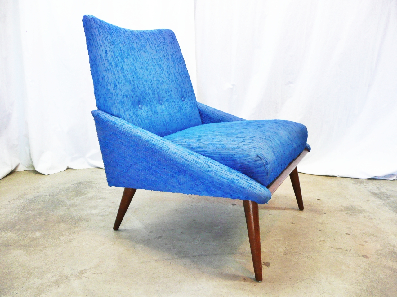 Blue Slipper Chair Modern Mid Century Danish Vintage Furniture Shop Used