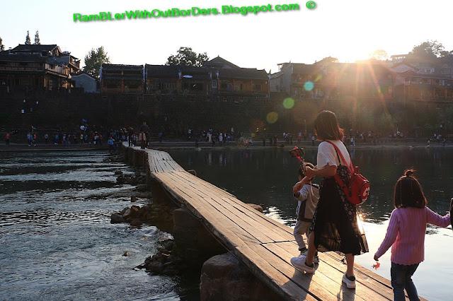 Footbridge, Riverside, Phoenix Fenghuang County, Hunan, China