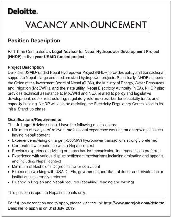Job at USAID Funded Project.