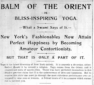 Photo of headline of March 27, 1898 New York Herald article about yoga