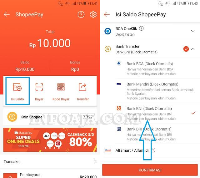 Cara Top Up ShopeePay lewat ATM BNI