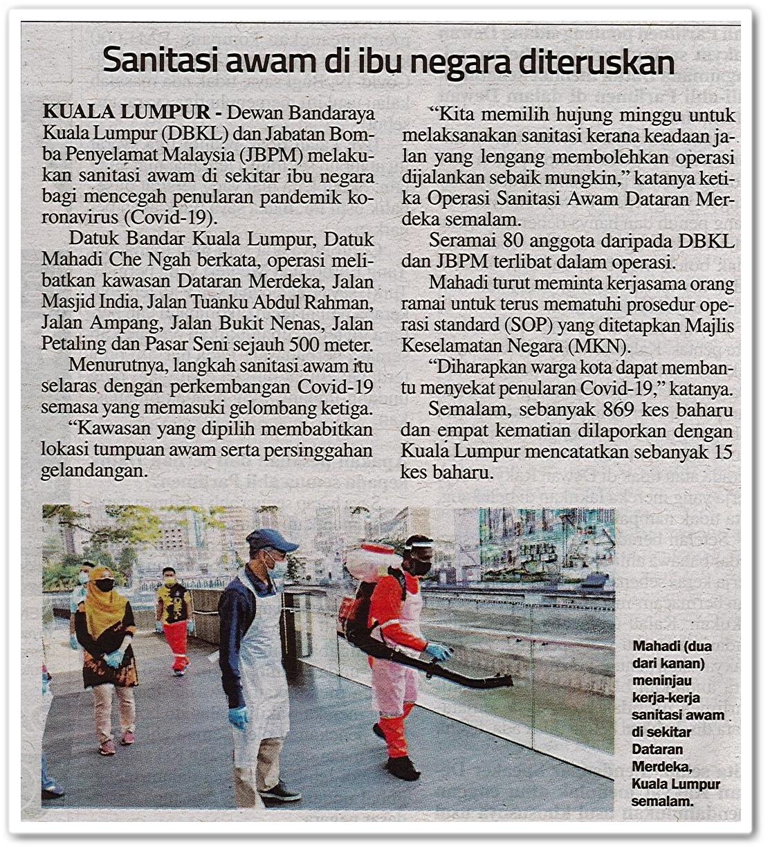 Sanitasi awam di ibu negara diteruskan - Keratan akhbar Sinar Ahad 18 Oktober 2020
