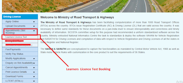 Learners Licence Slot Booking