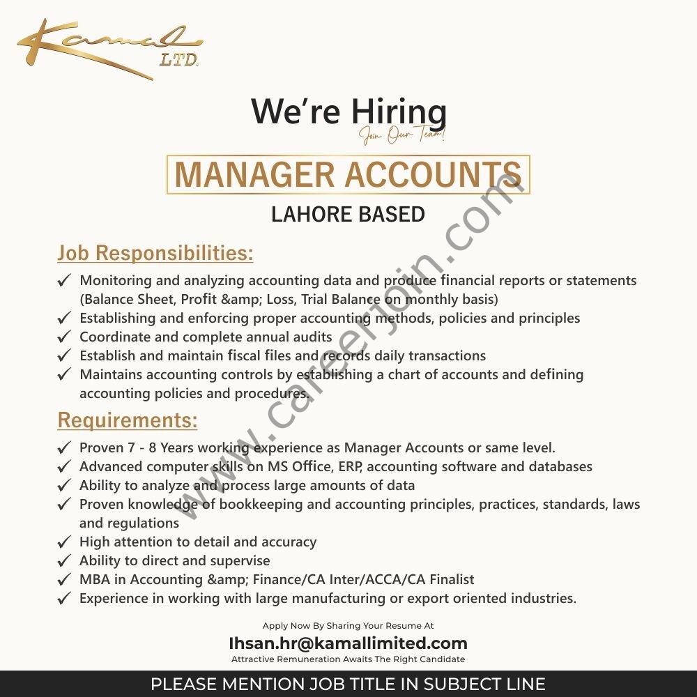 Kamal Ltd Jobs Manager Accounts 2021