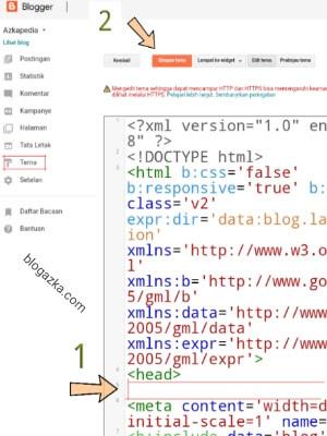 Menempatkan unit adsense dalam susunan html template
