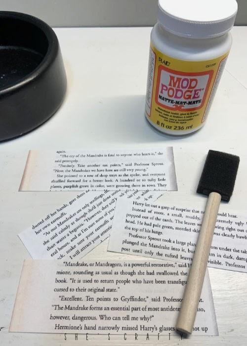 Harry Potter Planter - color copied book pages