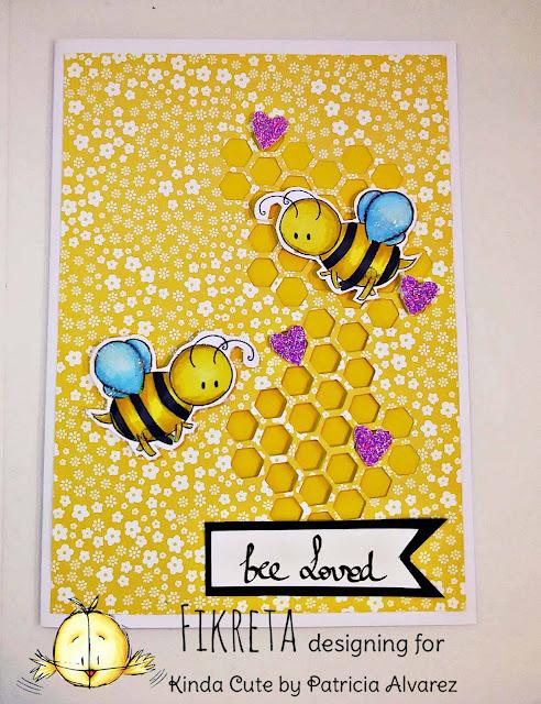 love card using bees digital stamp