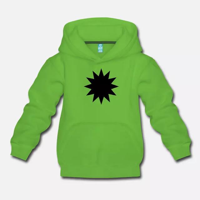 T Shirt mit Druck Schwarzer Stern Symbol Zeichen mit 12 Zacken