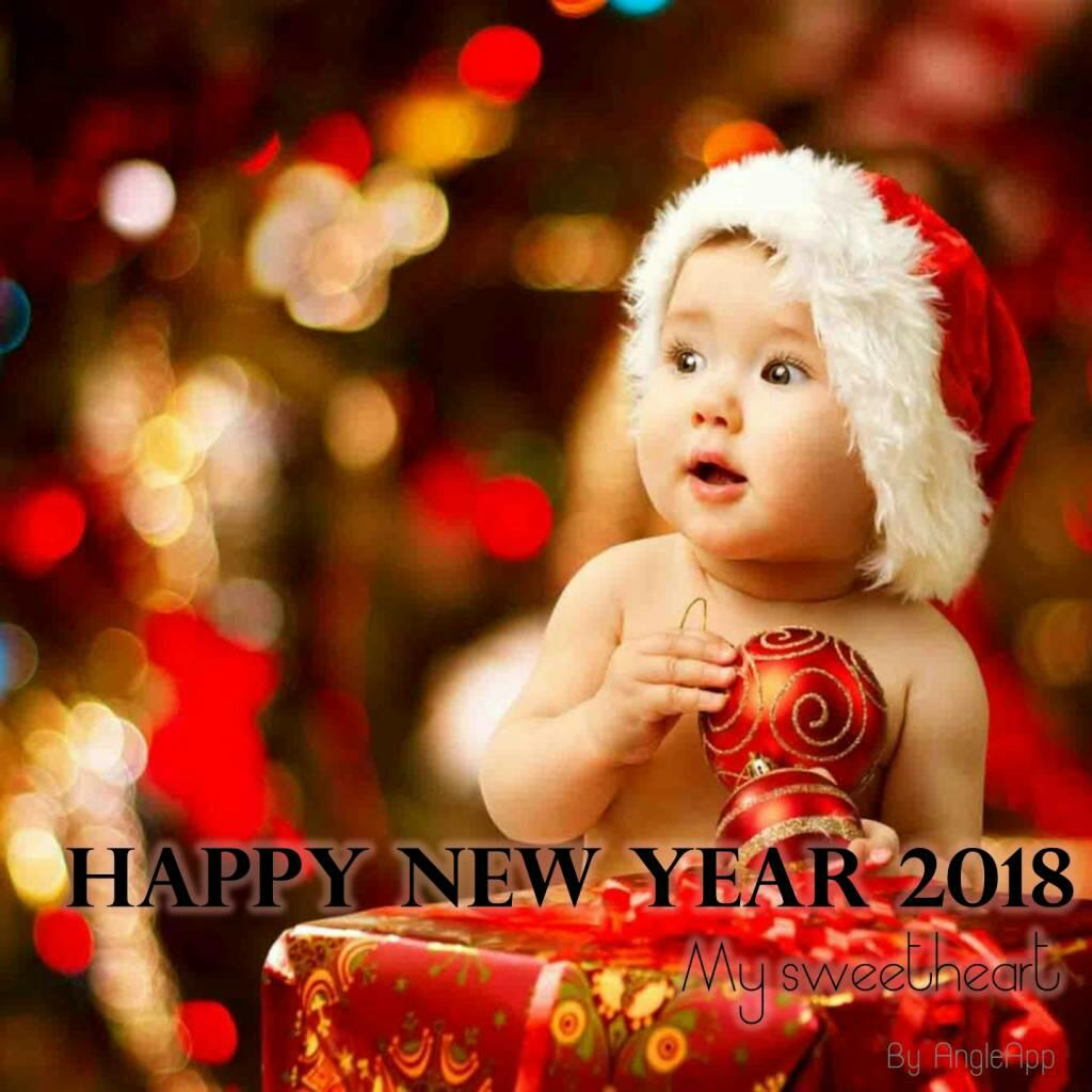 happy new year wishes with cute babies,flowers in 2018 - wallpapers