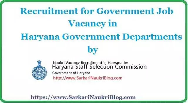 Sarkari Naukri Vacancy Recruitment by Haryana SSC