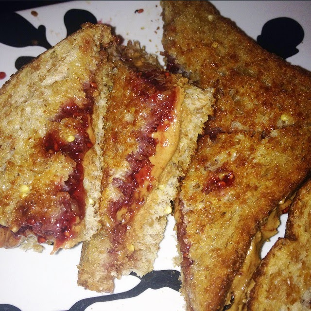 - - - -  grilled pb&j sammiches  - - - -