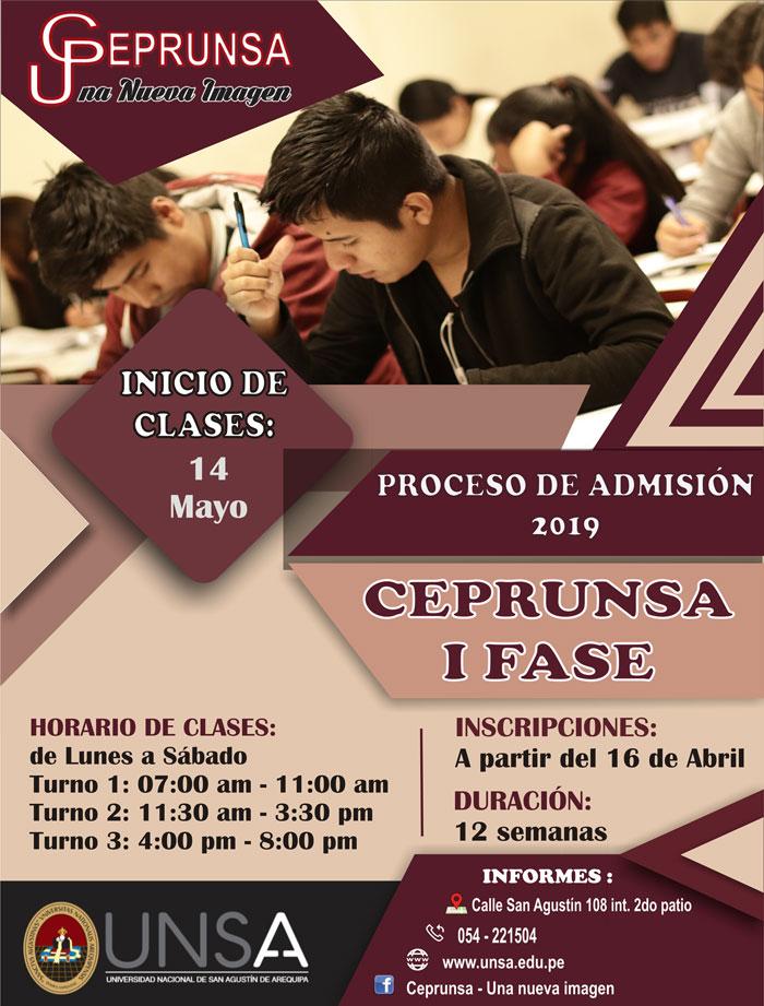 Proceso de admisión CEPRUNSA
