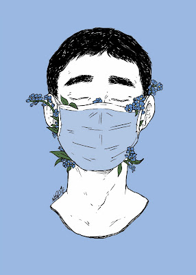 An illustration of a male wearing a face mask with flowers protruding from mask