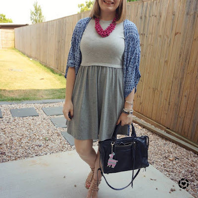 awayfromtheblue Instagram | grey skater dress and kimono with magenta statement necklace rebecca minkoff regan bag