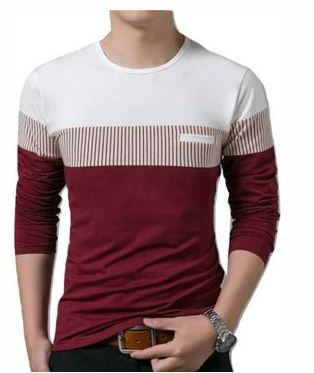 Men's Self Pattern Cotton Round Neck Tees