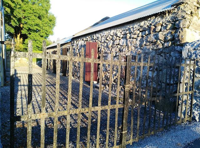 farm, fence, metal, shadows