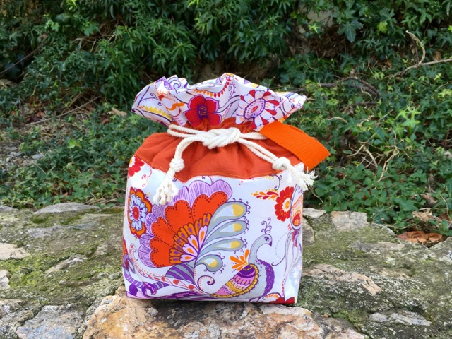 Orange drawstring bag