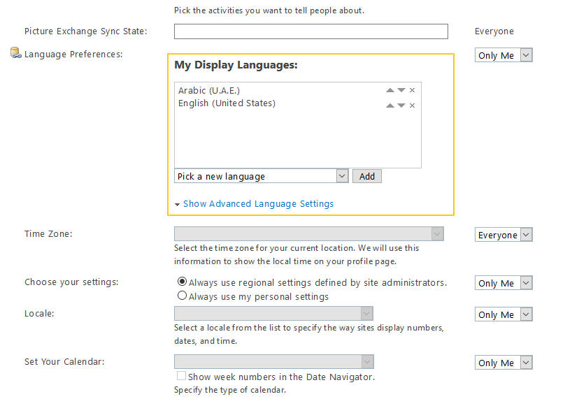 sharepoint online change language for user